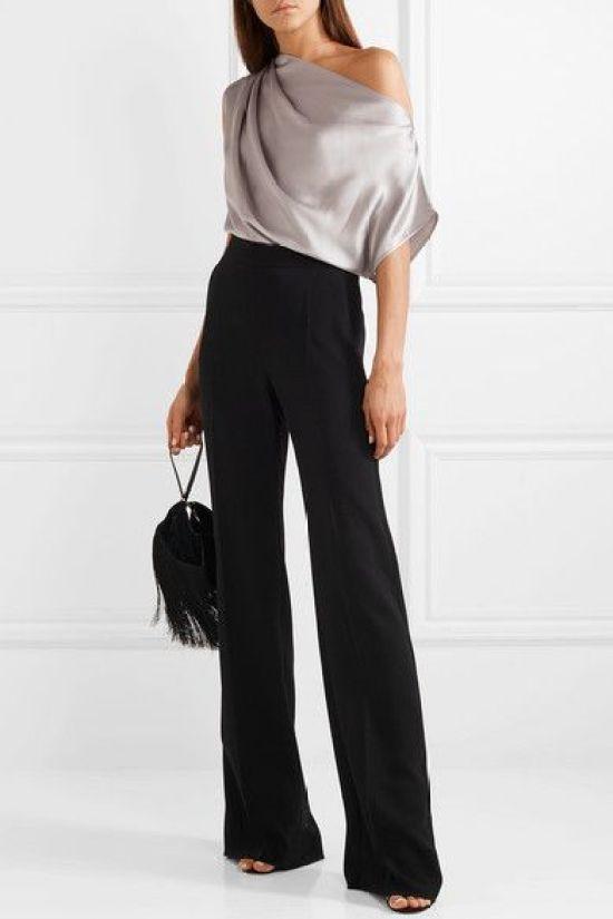 Look da ufficio: monospalla e pantaloni palazzo