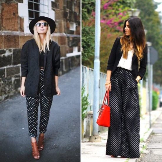 pantaloni a pois neri the chic jam