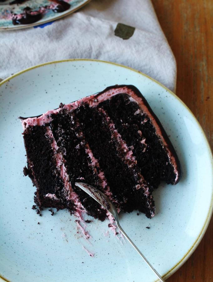 Chocolate Raspberry Pink Champagne Cake - A celebration cake of deep dark chocolate perfectly complemented by tart raspberry. I love this cake because the pink champagne makes it just that little bit special.