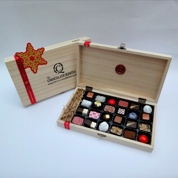 Wooden Presentation Case Box Of 24 Chocolates The