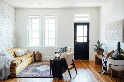 White Walls, Hardwood Floor & Intentional Homey Design