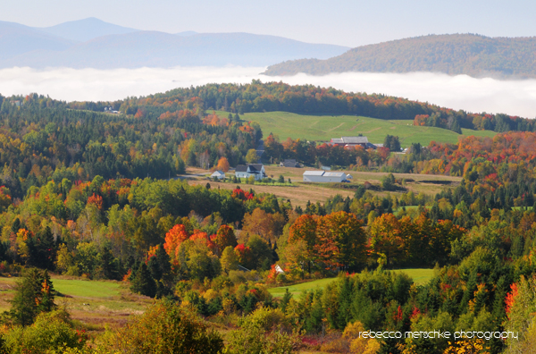 Autumn morning fog over Colebrook, New Hampshire