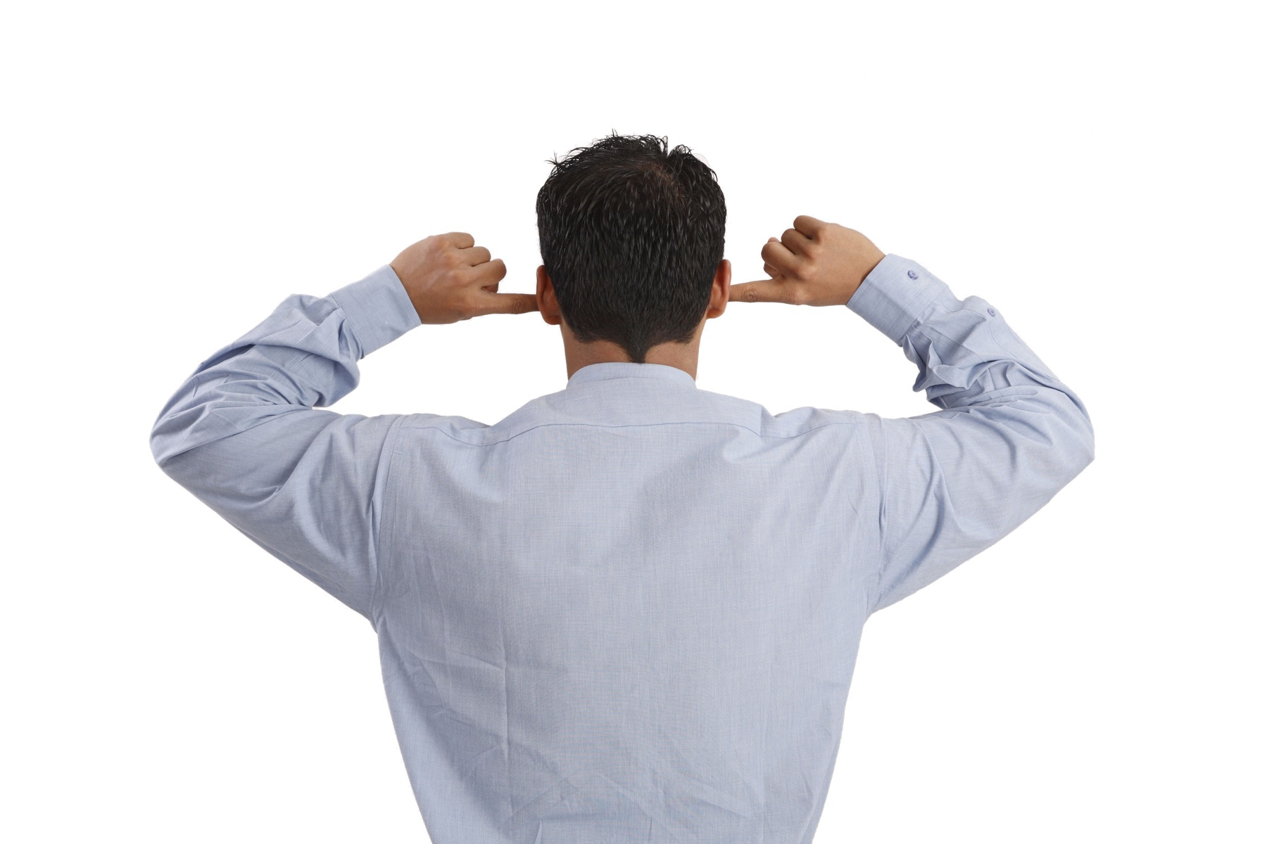 Businessman closing his both ears with both index fingers for sound pollution or does not want to hear