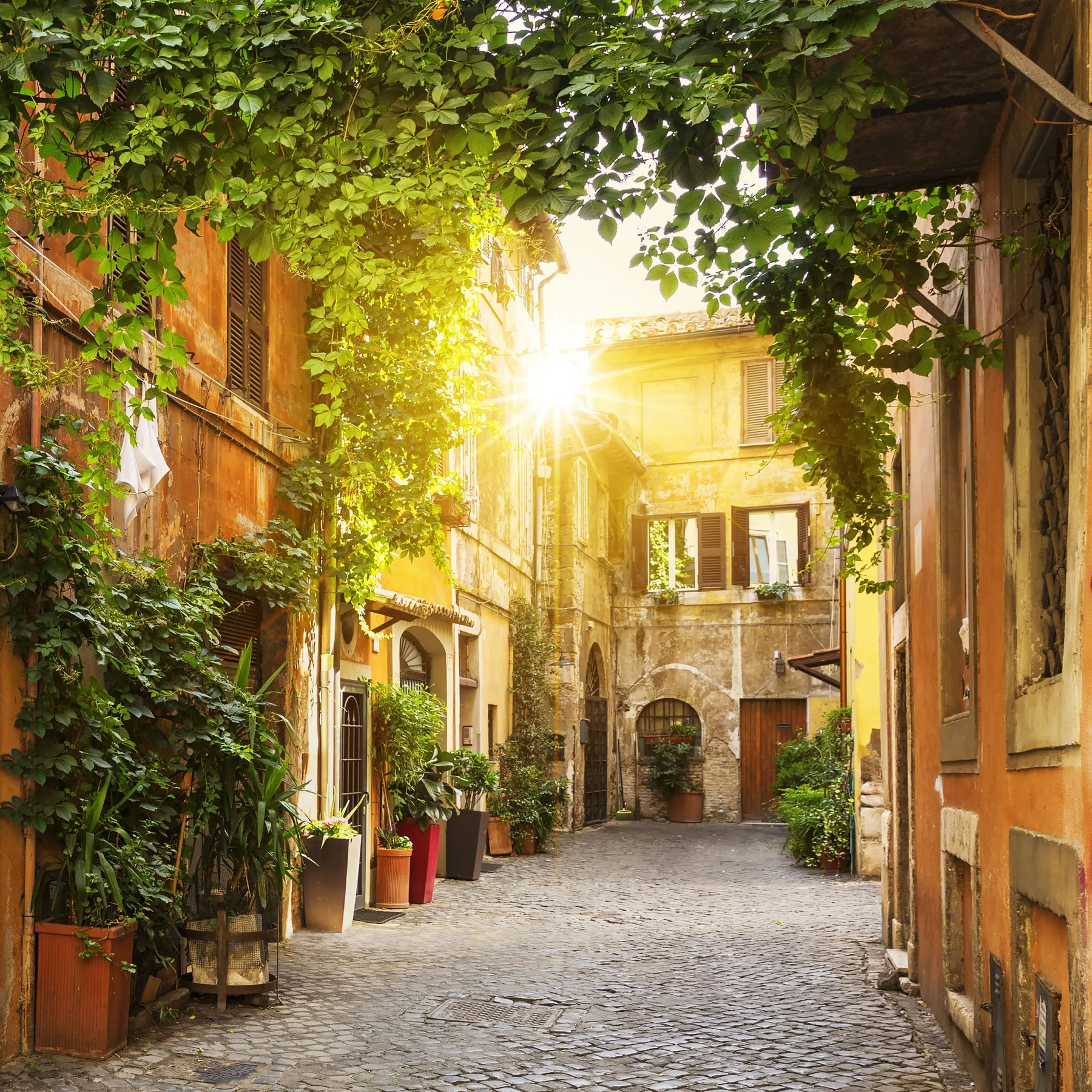 View of Old street in Trastevere in Rome
