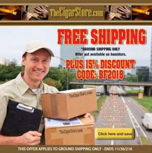 Free Shipping and 15% Discount on Cigars and accessories