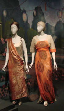 Silk damask and chiffron dresses