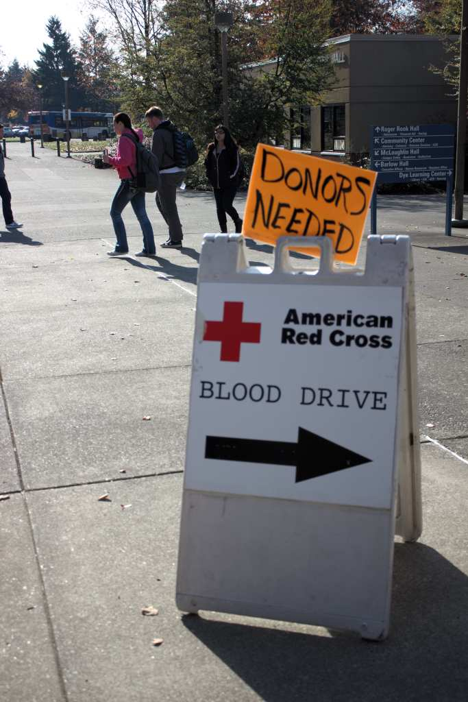 Red Cross was short on donors Wednesday morning resulting in putting out a hand written sign outside of Gregory Forum.