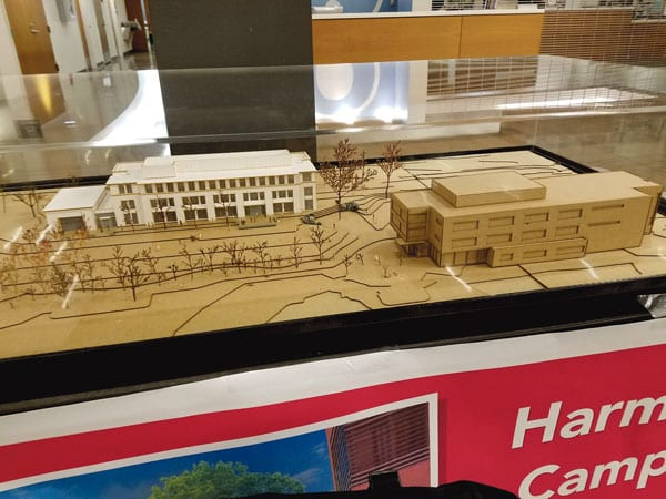 Construction is underway at the Harmony West Campus. Completion is expected fall 2017. A model of the new building is displayed in the lobby of the Harmony Campus.