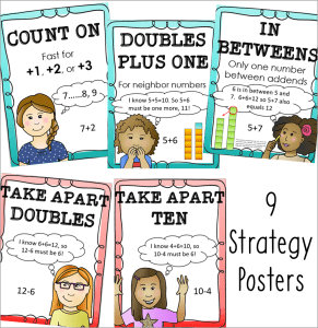 addition and subtraction strategy posters ($) for 1st and 2nd grade math classrooms
