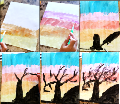 "silhouette tree art projects for kids, this went with the poem ""Trees are the Kindest Things I Know"" by Harry Behn"