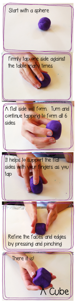 sculpting a cube out of play doh, a fun way to learn about geometry and 3D shapes #teachingmath #geometry