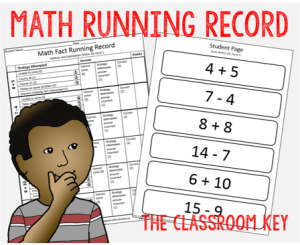 Math Running Record, assess the strategies your students are using