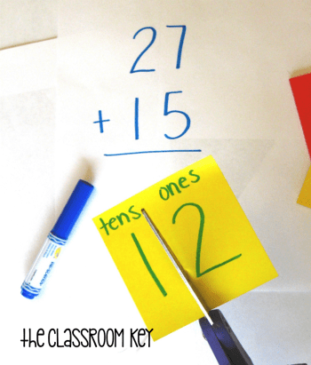teaching addition with regrouping using sticky notes