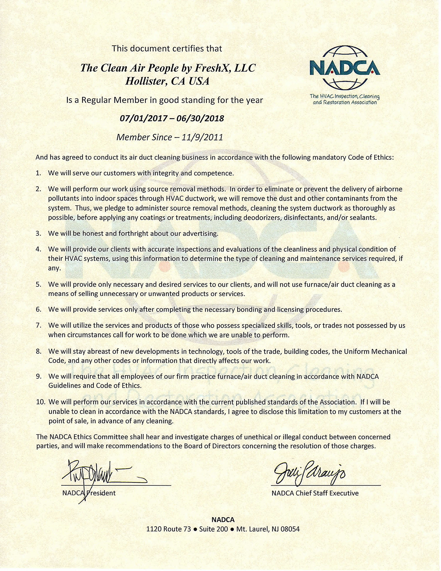 Freshx Nadca Certifications Clean Air People By Freshx