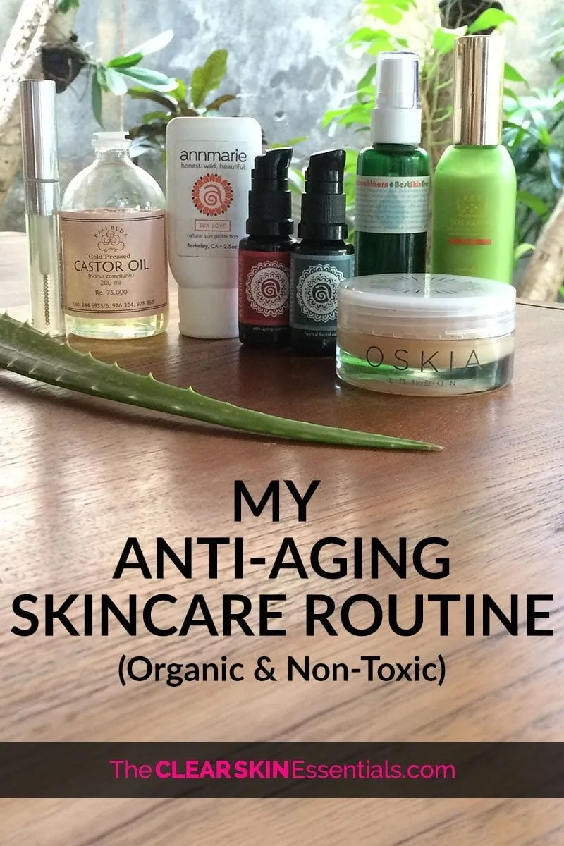 I have two skincare routines - a light minimal skincare routine when I have breakouts, and a more elaborate and restorative anti-aging skincare routine when my skin is clear and I can work on deeper hydration, smooth out fine lines and wrinkles, and fade any hyperpigmentation or scars/marks left behind from breakouts. Right now I'm loving my routine and all the product I'm using, so it's a perfect time to share my natural anti-aging skincare routine using organic and non-toxic skincare products. Click through to read more & see the video too. | www.TheClearSkinEssentials.com