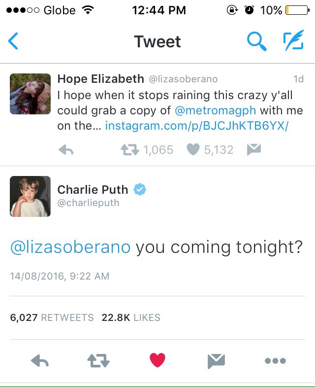 CHARLIE PUTH TWEETS LIZA SOBERANO