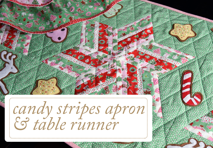 Candy Stripes Apron and Table Runner Holiday Christmas Sewing Quilting Pattern
