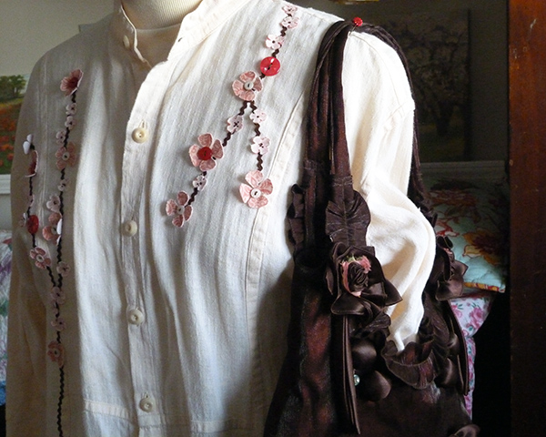 Dogwood Branches Embellished Shirt and Purse