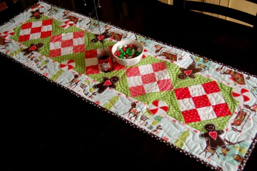 Peppermint and Gingerbread Christmas Table Runner