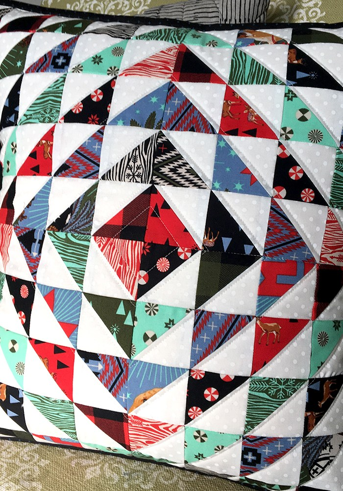Make This: Half-Square Triangle Diamonds Quilted Pillow Cover