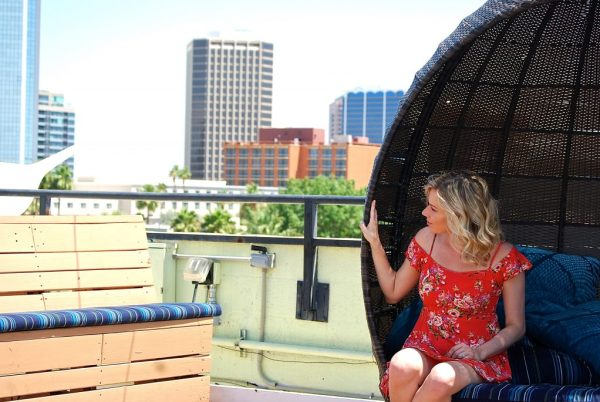 The Clumsy Traveler enjoying the view at the Clarendon Hotel and Spa