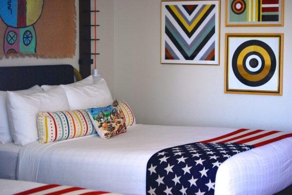 The Graduate Hotel Tempe Arizona - Hotel Bed with American flag