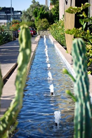 Water fountain exterior shot of the Clarendon Hotel and Spa