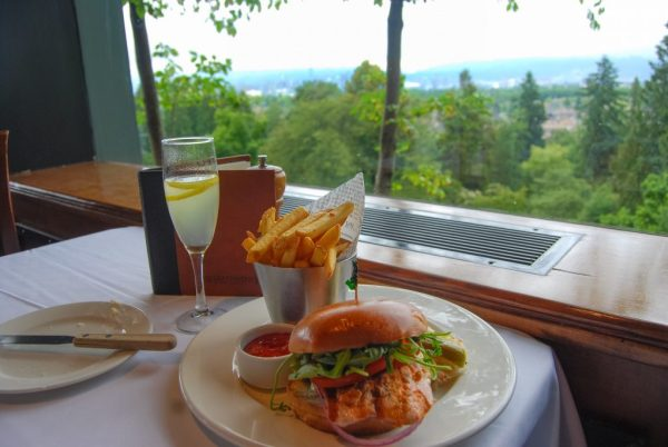 Best Food in Vancouver - French 75 and salmon burger at Seasons at the Park