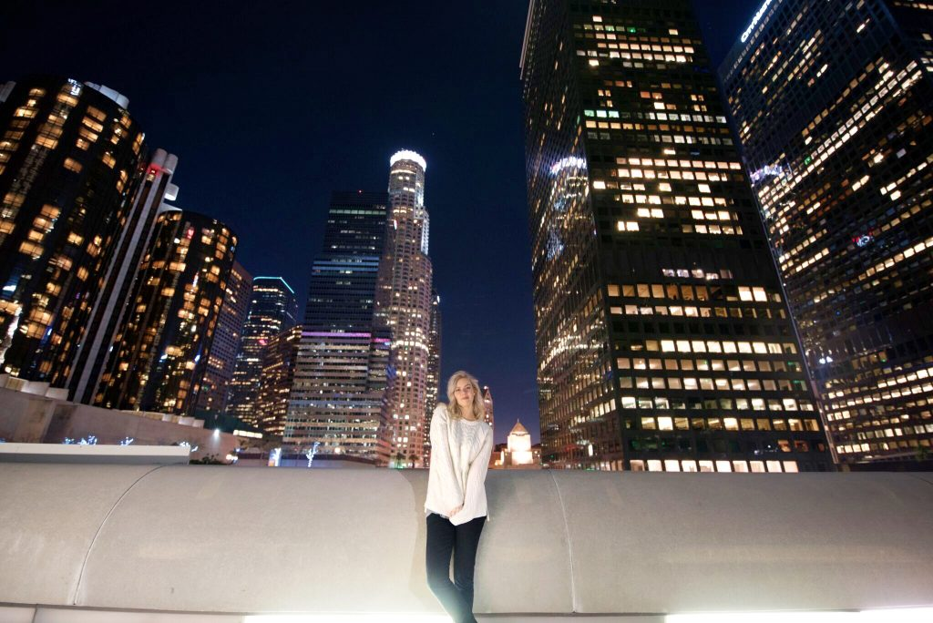 Blonde girl in white sweater in Downtown Los Angeles; Downtown LA With a Strange Man