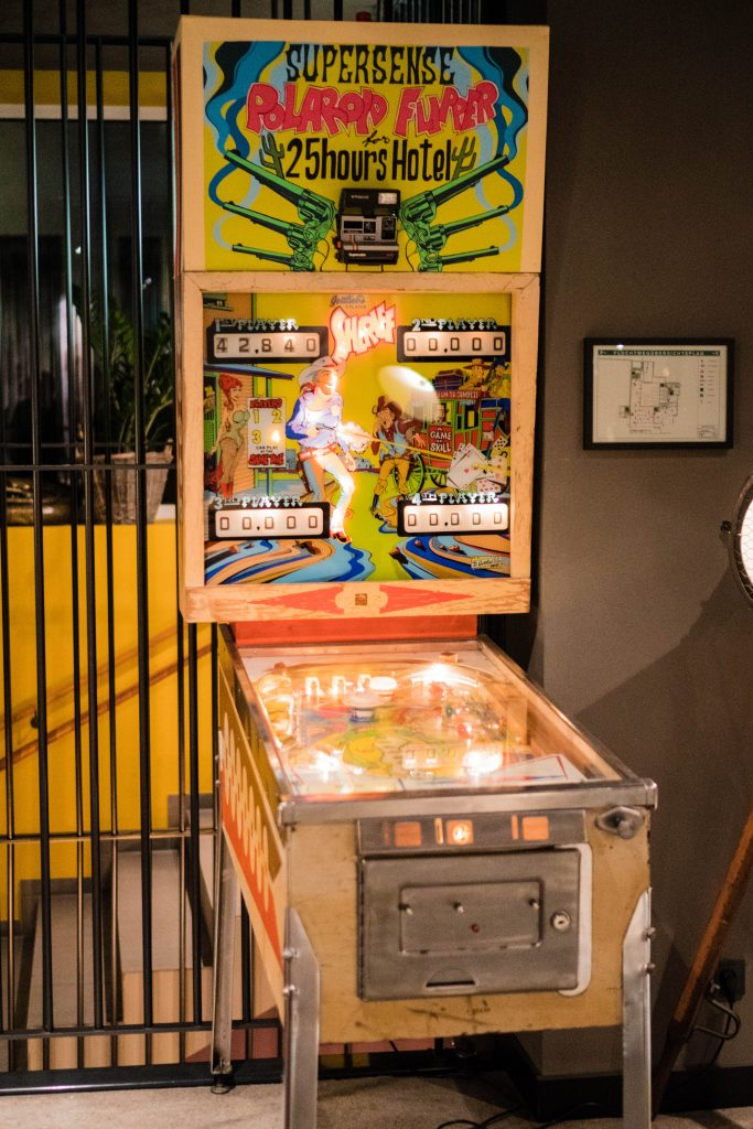 25Hours Hotel at the Museum Quarter Vienna Austria; interior lobby and lounge pinball machine