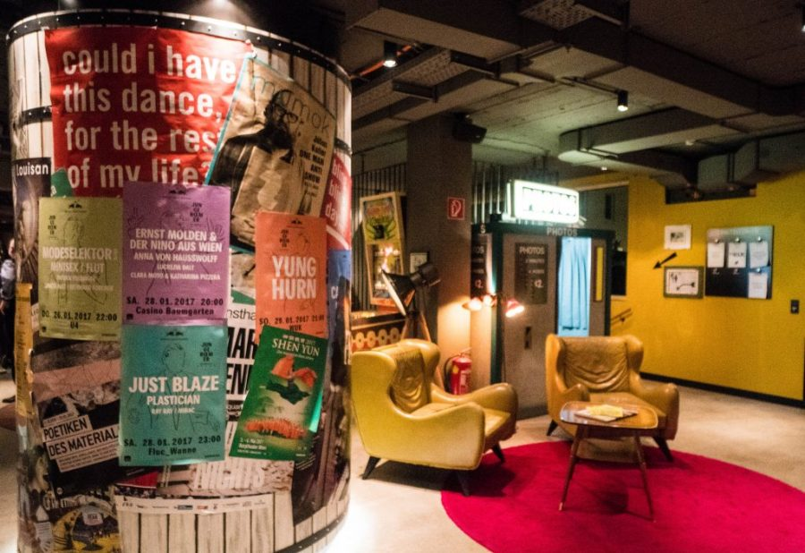 25Hours Hotel at the Museum Quarter Vienna Austria; interior lobby with photo booth and chairs