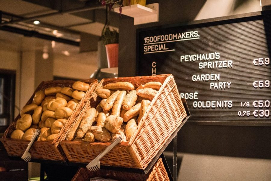 25Hours Hotel at the Museum Quarter Vienna Austria; breakfast buffet cake and bread