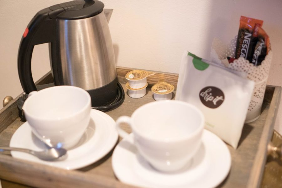 Miss Sophie's Hotel Prague hotel room interior amenities coffee and tea