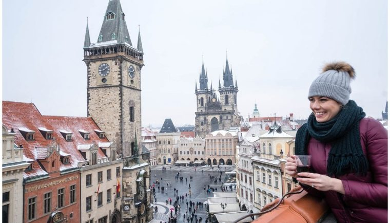Photos That Will Make You Want to Visit Prague; view from Terasa U Prince girl