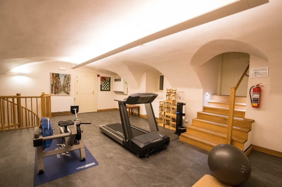 Staying at Hotel Golden Key; hotel gym interior