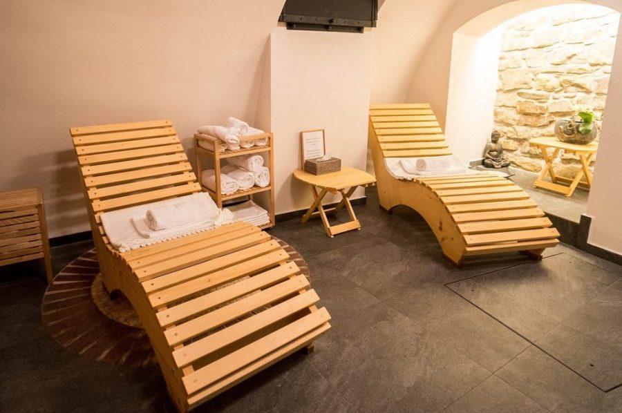 Staying at Hotel Golden Key; hotel sauna interior
