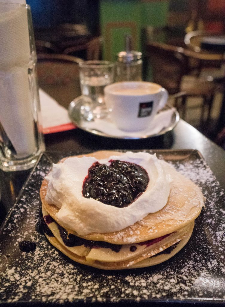 Hidden Sites of Prague; pancakes with jam and sour cream