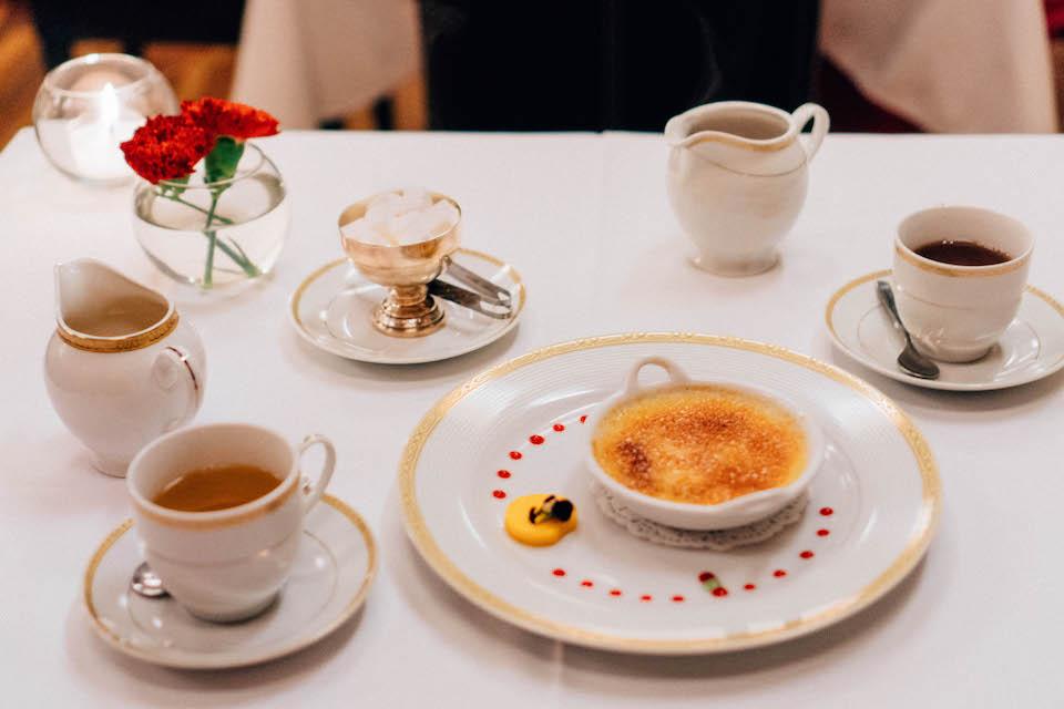 Le Soleil Restaurant; creme brulee and tea