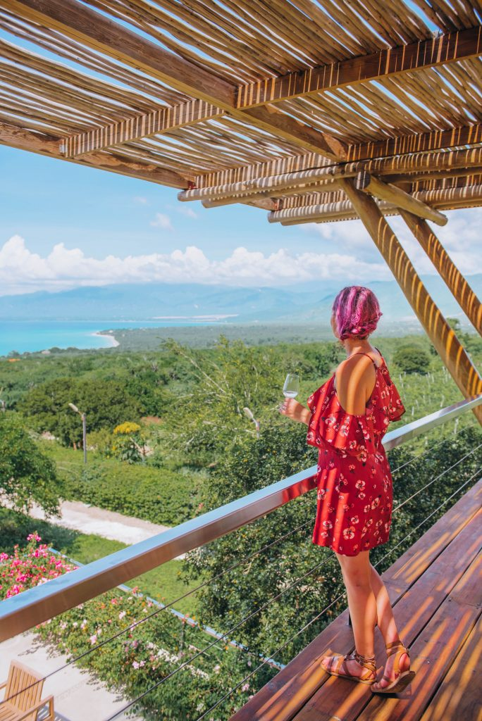 southwest Dominican Republic; girl looking at ocean view; wine tasting at Ocoa Bay Vineyard