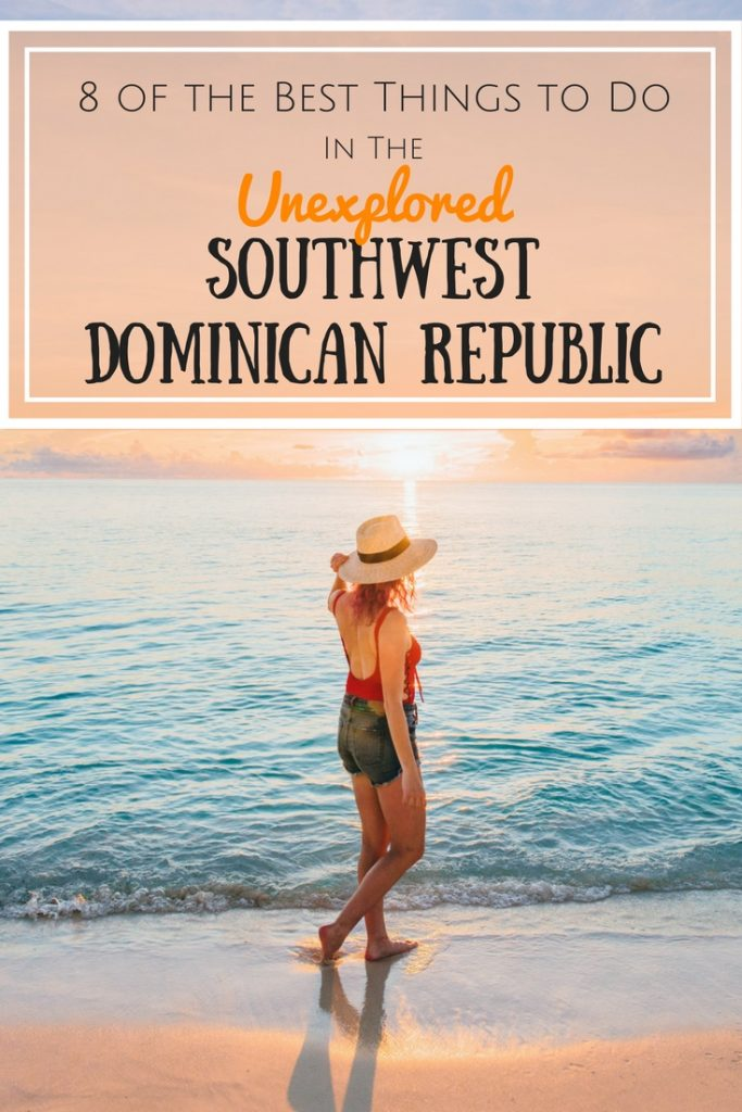 8 of the best things to do in the unexplored southwest Dominican Republic; girl walking on the beach at sunset