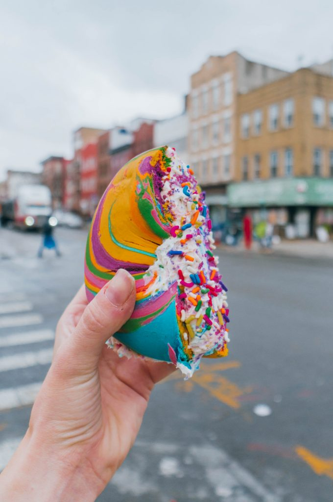 48 hours in New York; Rainbow bagel at the bagel store