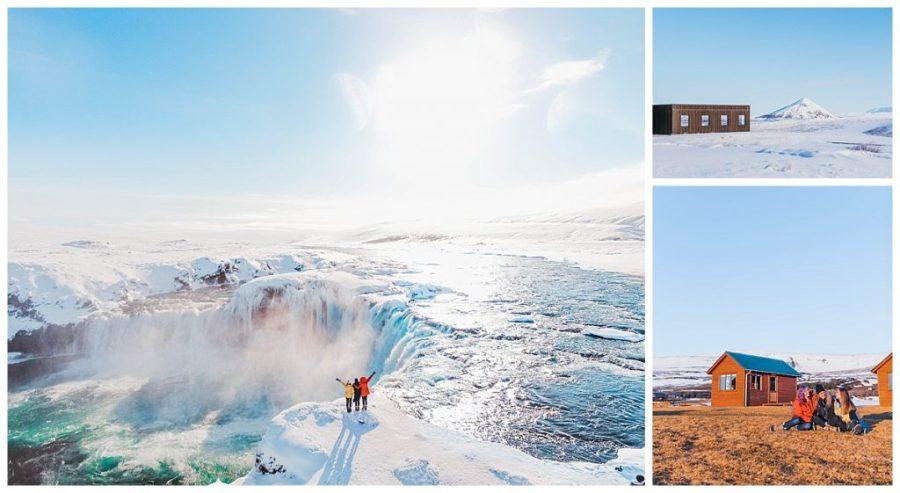 travel the ring road in Iceland; Mývatn,Goðafoss Waterfall,Aldeyjarfoss Waterfall,Hvammstangi