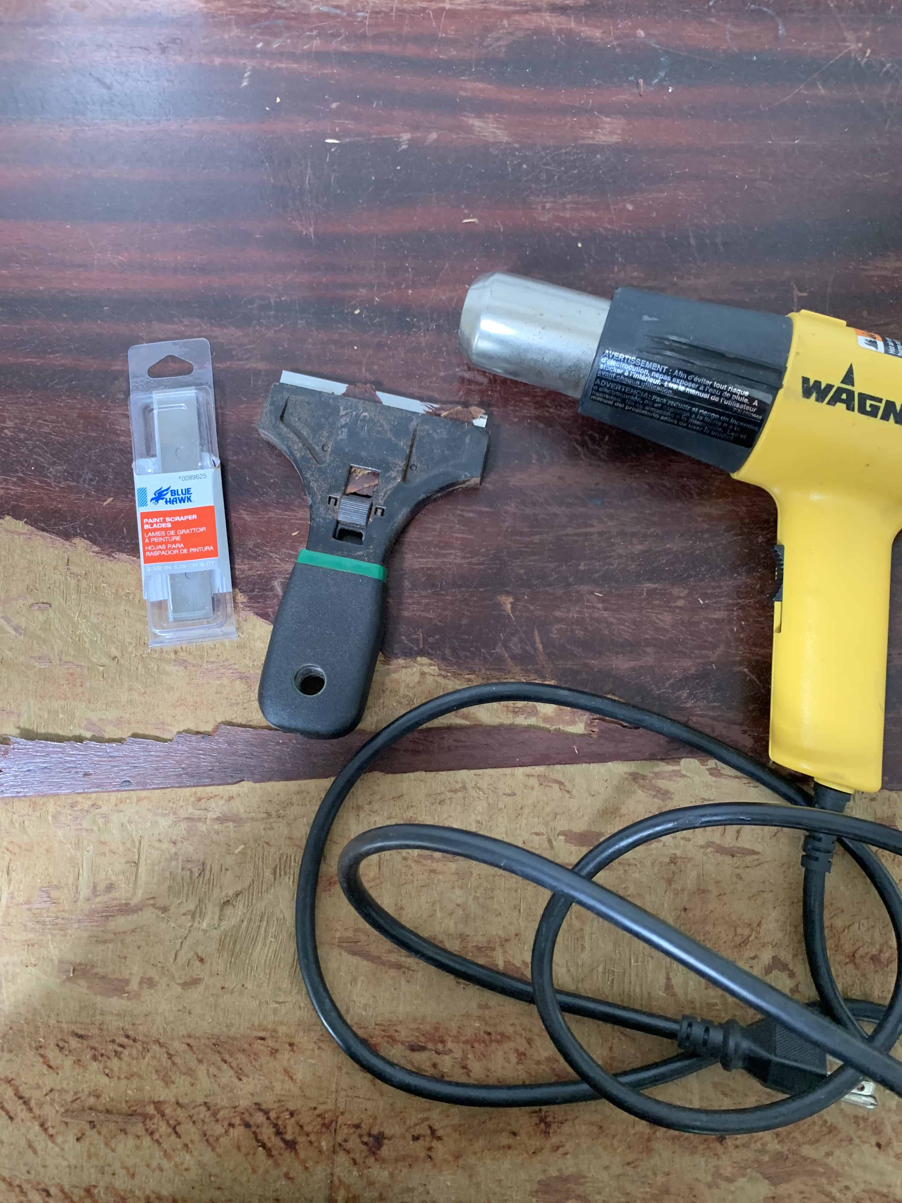 Removing veneer and refinishing old furniture, with several methods to get a raw wood finish.