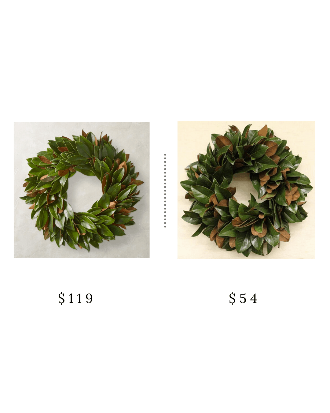 Christmas porch decor with splurge and save options.  This porch decor includes black and white minimal decor with layered mats and skinny trees.  #christmasdecor #porchdecor #magnoliawreath #dashandalbert