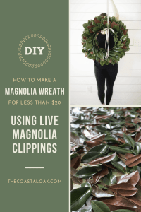 DIY Magnolia Wreath for less than $20, using live clippings