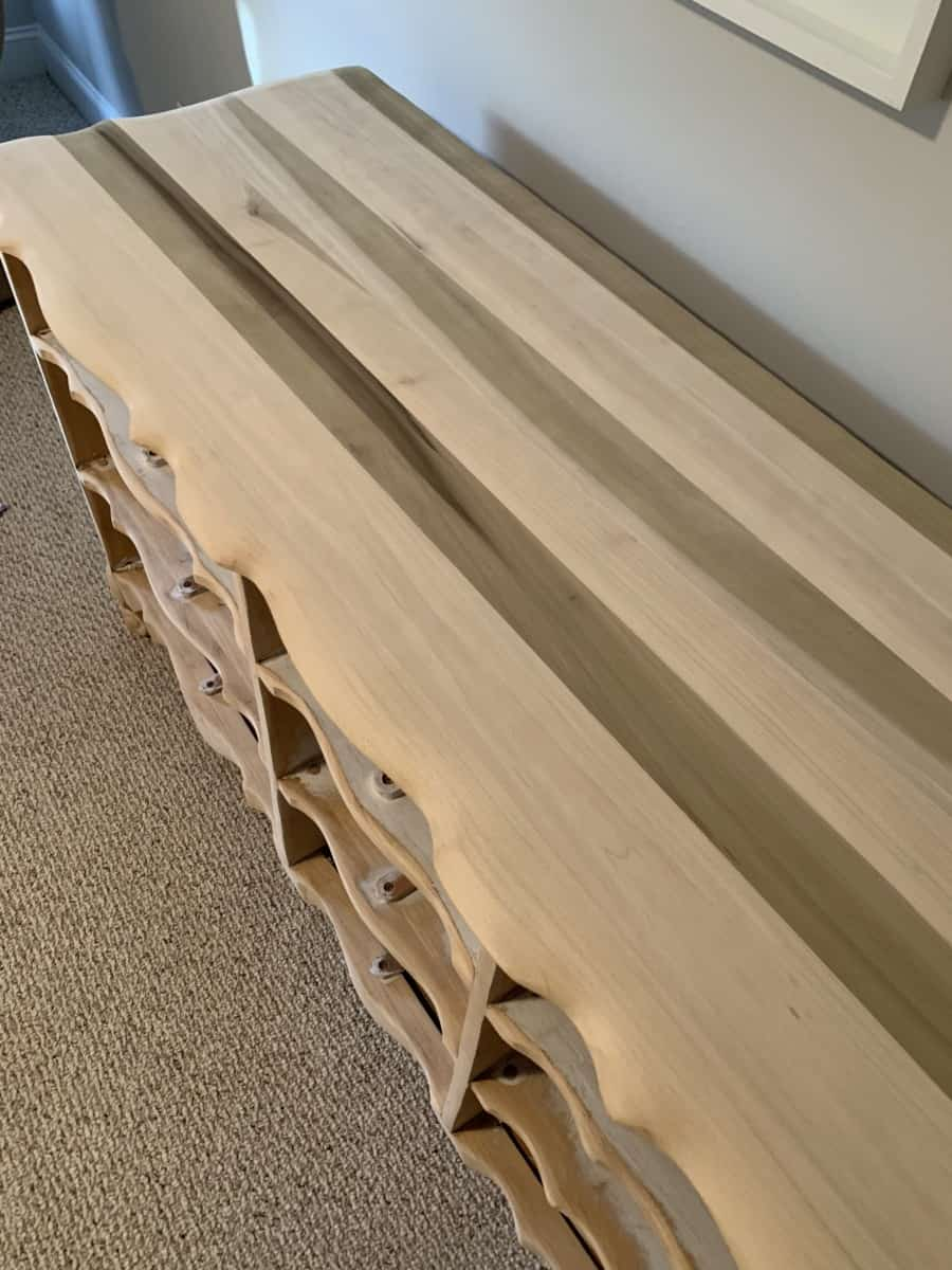 How to sand through veneer and refinish old dressers - The Coastal Oak Blog #refinishingfurniture #sandingfurniture #naturaldresser #refinisheddresser #provincialdresser #rawwood