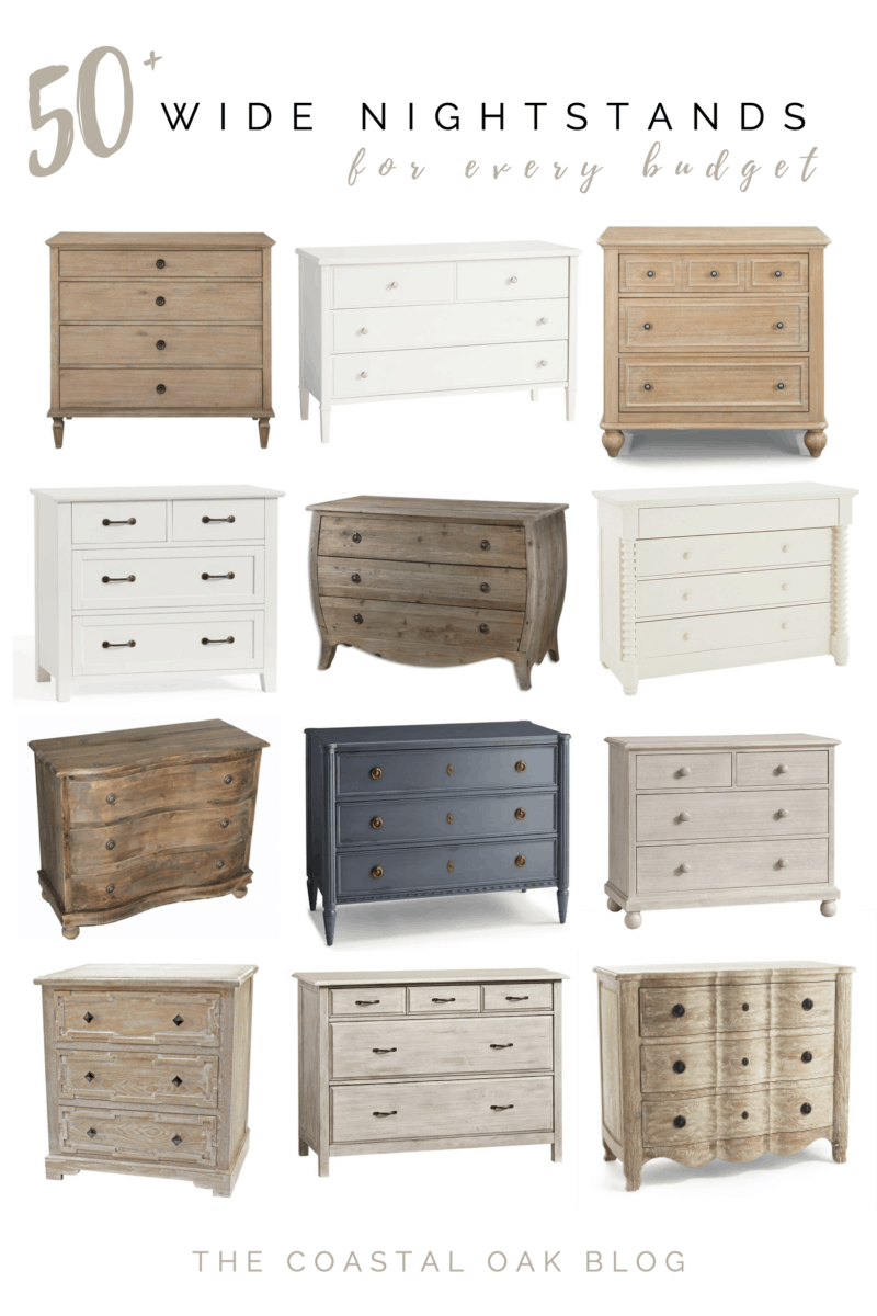 50 plus wide nightstands for every budget, including three drawer chests, small dressers, and options for children