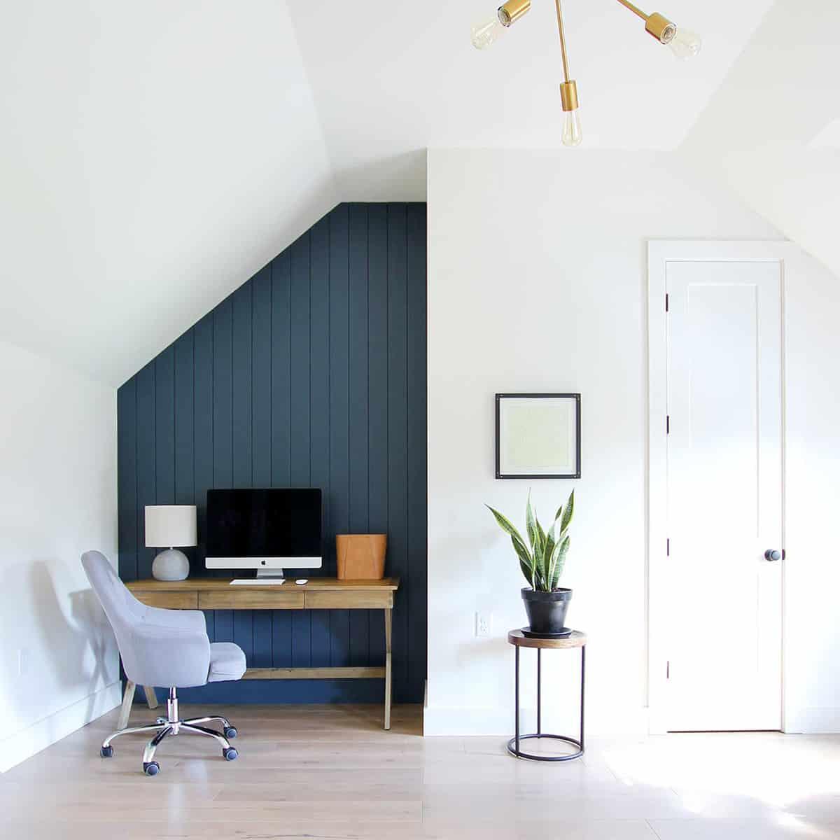 Plank + Pillow Vertical Shiplap Office