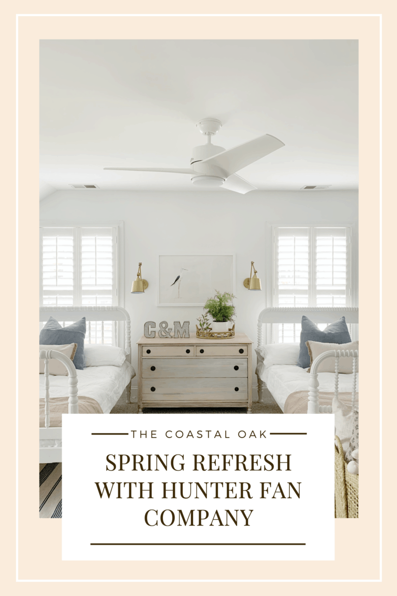 A spring refresh for our shared kids' room with hunter fan company where we replaced our old fan with the new Havoc, three blade white fan.  #whitefan #coastalbedroom #kidsroom #sharedroom #hunterfancompany