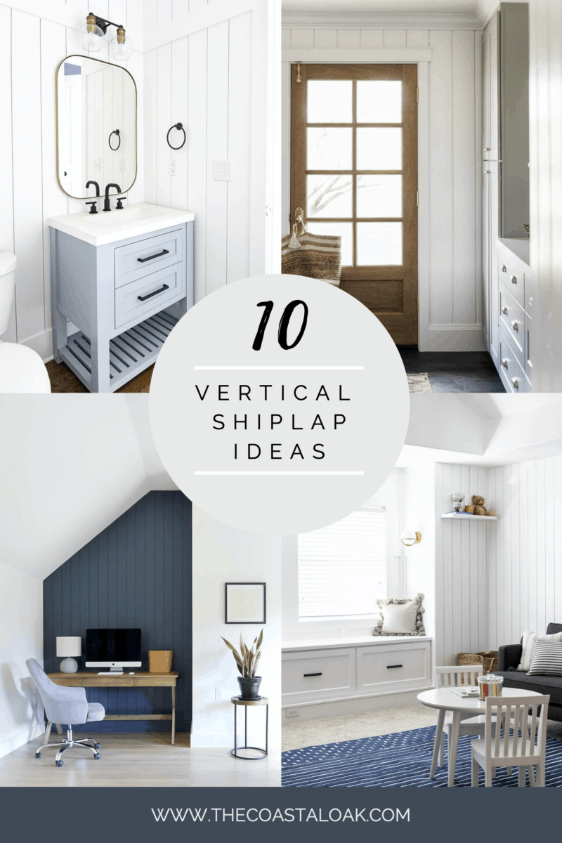 The Coastal Oak - Ten different ways to use vertical shiplap in your home with DIY tutorials to measure, paint and install shiplap in bedrooms, laundry rooms, and bathrooms.